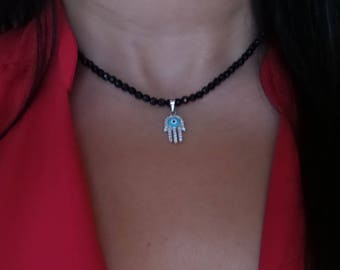 Hamsa Necklace/ Beaded Necklace with Hamsa/ Kabbalah Jewelry/ Hamsa Hand Charm Necklace/ Yoga Jewelry/ Evil Eye Necklace/ Protection