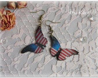 Butterflies Earrings of a butterfly American flag Light butterfly earrings women Earrings gift Beloved Valentine's Day