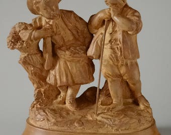 Antique French Terracotta Group Artist Signed