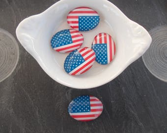 American Flag glass oval cabochon