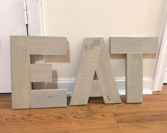 Rustic Reclaimed Wood Eat Sign, Rustic Eat Letters, Rustic Eat Word, Rustic Letters Eat, Wood Eat Word, Wooden Eat Word, Reclaimed Wood Sign