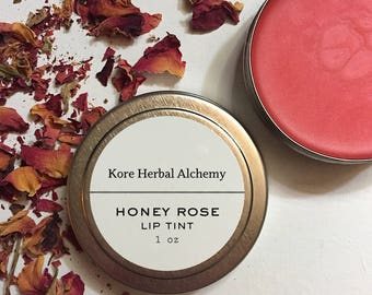 lip tint, handmade, natural, lip gloss, organic, skincare, lip balm, lip moisturizer, honey rose lip tint, lip color, lip hue, plant makeup