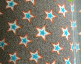 Fleece star beige, turquoise, orange (6.08 EUR / meter) (6.08 EUR / meter)