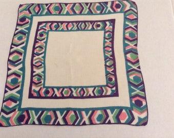 Vintage Handkerchief / Pastel Xs & Os