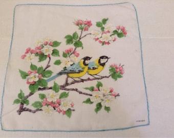 Vintage Handkerchief / Kreier / Birds and Apple Blossoms