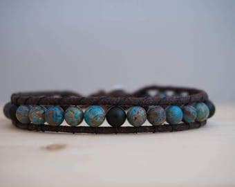 Bracelet man wrap, Jasper and onyx, blue, green and black stone