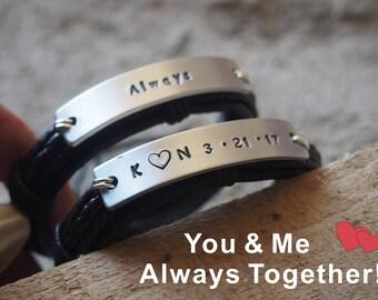 Personalized engraved bracelet, Valentines day GIFT for him, custom leather bracelet, hand stamped bracelet, Personalized gift for men gifts