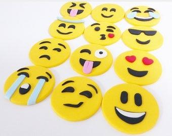 Emoji cupcake toppers handmade FONDANT 12 psc