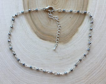 Silver Rosary Bead Necklace, Bohemian Jewelry, Valentine's Day Gift