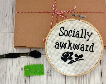 Socially awkward - modern cross stitch kit- easy cross stitch pattern beginner instructions funny quote sign embroidery kit introvert gift