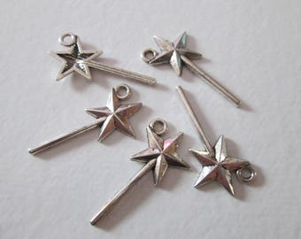 10 charms wand silver 25 x 13 mm