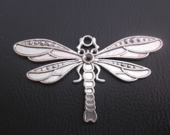 large metal Dragonfly pendant silver 39 x 71 mm