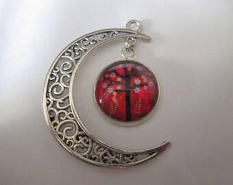 Crescent Moon pendant and 16 mm cabochon