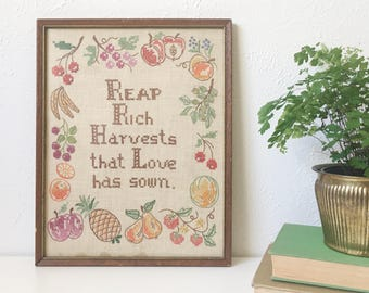 "Vintage Framed CROSS STITCH with Fruit + ""Reap Rich Harvests that Love has sown"" + Retro Kitchen Decor"