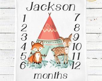 Boho Baby Blanket / Woodland Nursery / Woodland Baby Shower / Boho Baby Bedding / Boho Baby Boy / Boho Baby Shower / Personalized Blanket