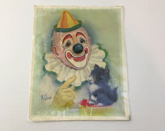 Clown and Kitten Print / Vintage K. Chin Print / Vintage Clown Ephemera