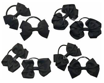 Black grosgrain ribbon hair bows on thick bobbles, girls black hair accessories, ribbon bows, thick hair elastics, pony tail holders, ties