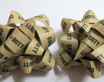 Call of Duty Gift Bow, Pack Of 2 Gift Bows, Video Game Decor, Rustic Gift Bow, Gamer Gift