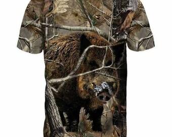 New ultramodern 3D  High Quality Boar Hunting Forest Men's T-shirt