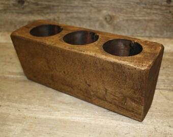 Lot of 3, 3 Hole Wooden Sugar Mold Wood Candle Holder Primitive