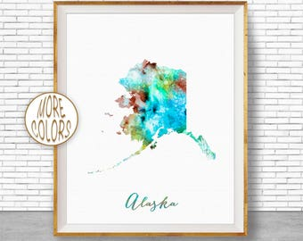 Alaska State Alaska Decor Alaska Print Alaska Map Art Print Map Artwork Map Print Map Poster Watercolor Map ArtPrintZone Christmas Gifts