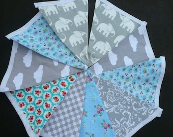 Ready Made Grey Elephant Bunting.Grey & Turquoise. Handmade Fabric Bunting,  Lined Bunting
