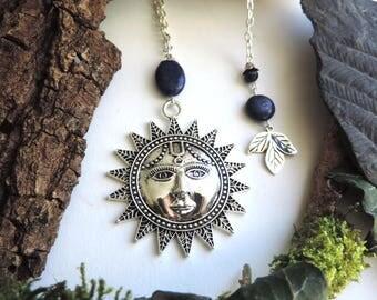 Semi precious silver necklace: Silver Sun, lapis lazuli beads.