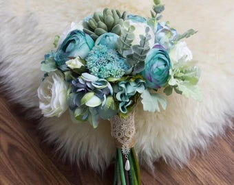 Tiffany Blue Wedding Bouquet,Wedding Flowers for Bridal,Real Touch Flowers  Succulentswith Lace Decoration