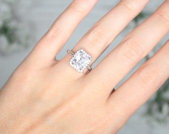 4 Carat Square Cut Halo Engagement Ring - Engagement Ring - Promise Ring - Halo Engagement Ring