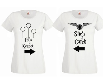 He's a Keeper She's a Catch Harry Potter Couples Friends Matching Tshirt