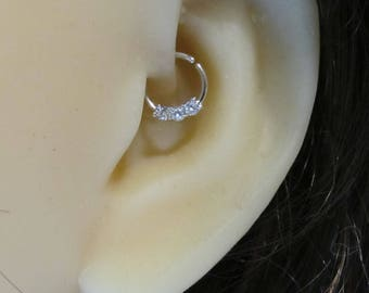 Surgical Steel Daith Piercing Ring with cz's,Cartilage,Helix,Septum.18g..8mm
