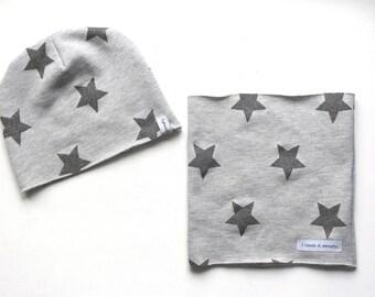 Grey fleece neck warmer hat and gray stars glitter