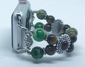 """Apple Watch Band, Women Bead Bracelet Watch Band, iWatch Strap, Apple Watch 38mm, Apple Watch 42mm, Green Brown Sizes 5 3/4"""" - 6"""""""