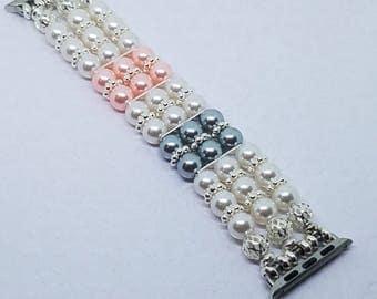Apple Watch Band, Women Bead Bracelet Watch Band, iWatch Strap, Apple Watch 38mm, 3 Strand Pink, White, Silver Faux Pearl 6 1/4