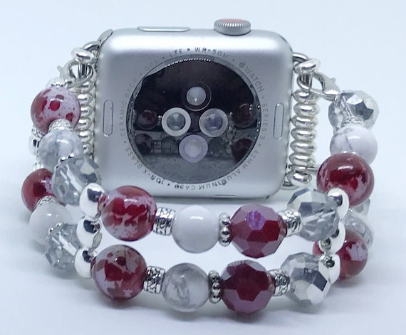 Apple Watch Band, Women Bead Bracelet Watch Band, iWatch Strap, Apple Watch 38mm, 42mm, Team Colors Maroon White Gray Beads, Silver 6 3/4""