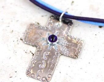 Amethyst Cross Necklace