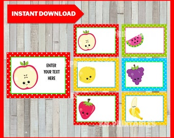 Fruit Printable Cards, tags, book labels, stickers, kids cards, gift tags, labeling, scrapbooking EDITABLE INSTANT DOWNLOAD