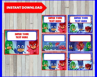 Pj masks Printable Cards, tags, book labels, stickers, kids cards, gift tags, labeling, scrapbooking EDITABLE INSTANT DOWNLOAD