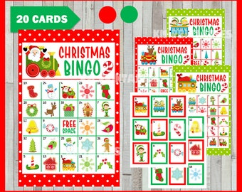 Christmas Bingo Printable Game - 20 different Cards - Christmas Memory Game - Party Game Printable - INSTANT DOWNLOAD