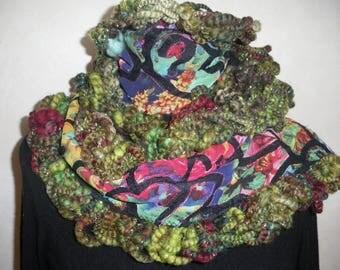 "Original scarf handspun ""Fleurette"""