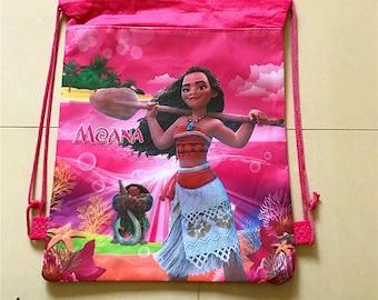 Moana favor bag, Moana party favors, Moana treat bag, Moana Goody bag, Moana birthday party bag, Moana Drawstring bag, Moana school bag