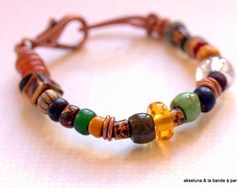 Bohemian glass, leather, ceramic bracelet with patina 15-18cm