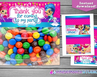 Shimmer and Shine Treat Bag Toppers, Shimmer and Shine Birthday Treat Bag Toppers, Shimmer and Shine Toppers, Shimmer and Shine Party Supply