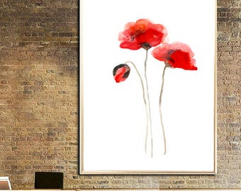 Poppy poster Poppy Red poppy wall art Poppy watercolor painting Poppy art print Poppy  Abstract flower poppy minimalist
