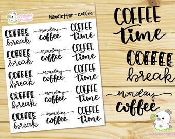 Coffee Hand letter / Script Word Planner stickers