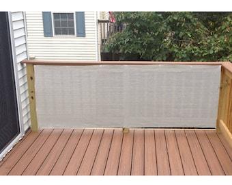 Custom Sized Privacy Screen for Railing Patio Deck Balcony Pool Fence Porch - Smoke Grey No Trim