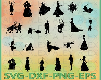 70% OFF, Frozen Silhouettes SVG Files, Frozen Svg Files, Frozen Svg, Dxf, Png, Ai File, Instant Download
