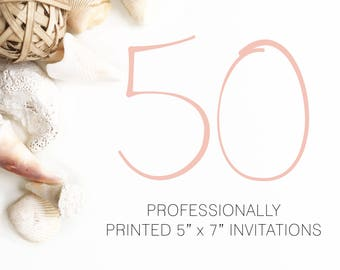 50 Professionally Printed Invitations White Envelopes Included And Free US Shipping, Printed Invitations