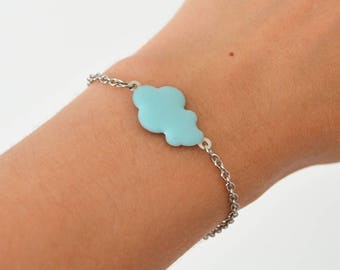 Bracelet NUAGE Crane // Stainless steel bracelet with a blue cloud in the center and a bird origami crane that ends the adjustable bracelet