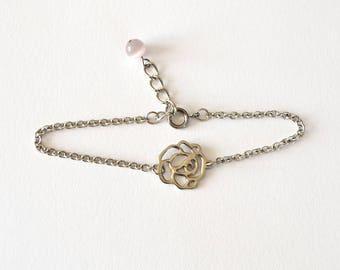 Vente de liquidation > Bracelet ROSE // Bracelet fine chaîne en argent avec fleur ajourée
